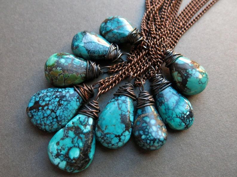 Raw Turquoise Necklace  Genuine Turquoise Jewelry  Long Boho image 0