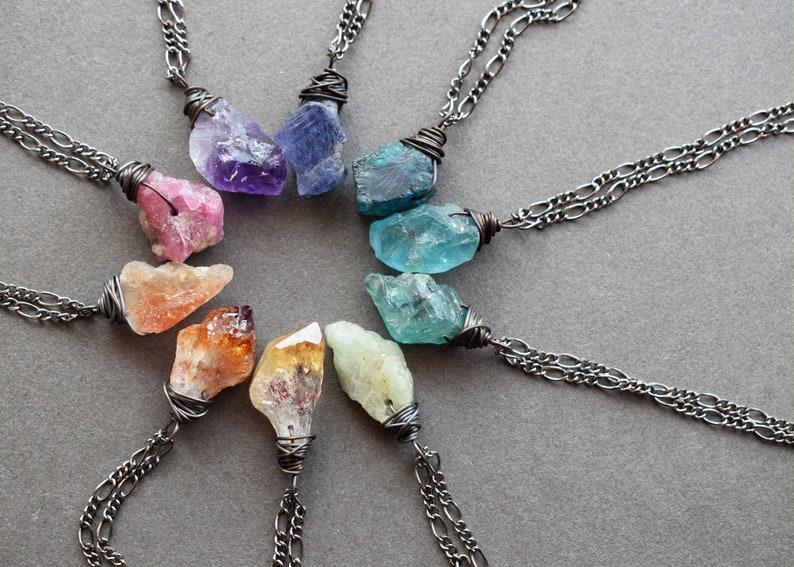 Dainty Raw Gemstone Necklace  Healing Crystal Pendant  Raw image 0