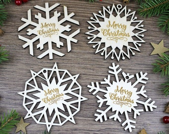 4x Engraved Christmas Wooden Snowflakes / Wood Ornaments / Christmas Gift