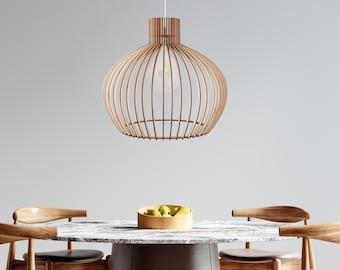 KWUD Modern Scandinavian Style Ceiling Mount Wood Pendant Lighting Lamp Shade with E26/27 Base