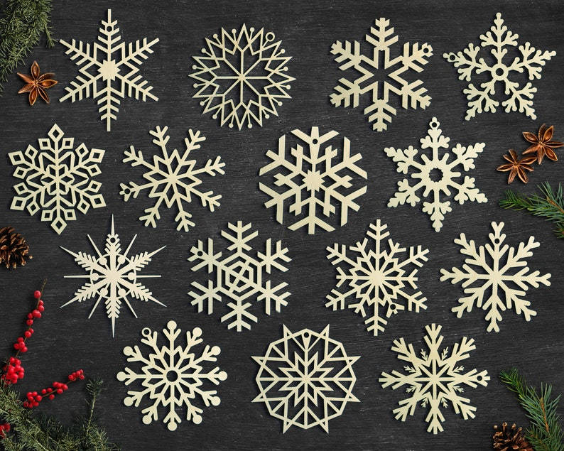 Set of 15x Christmas Wooden Snowflake Ornaments / Laser Cut image 1