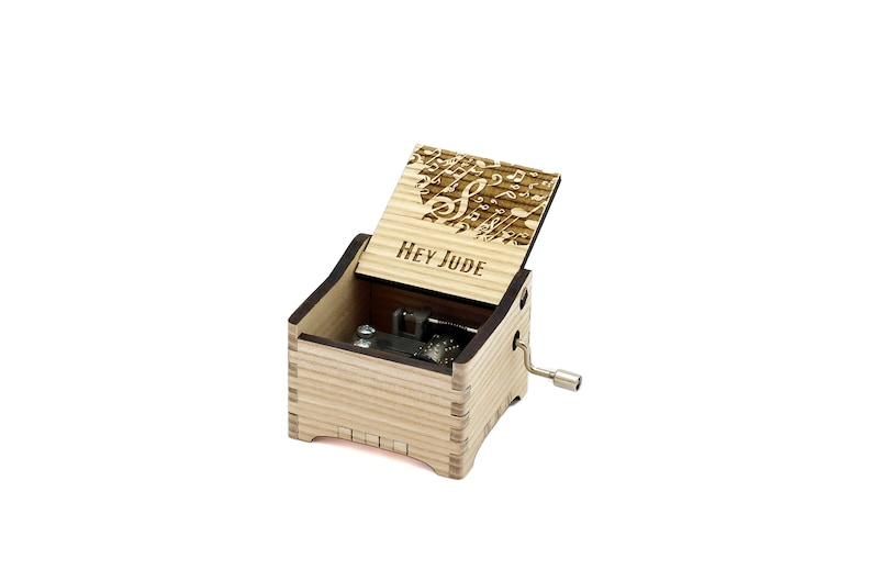 Hey Jude  Personalised / Engraved Hand Crank Wooden Music box image 0