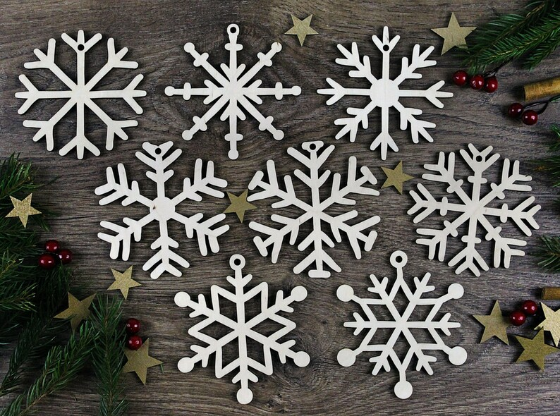 12 Wooden Snowflake Clip on Ornaments or Gift Package accents