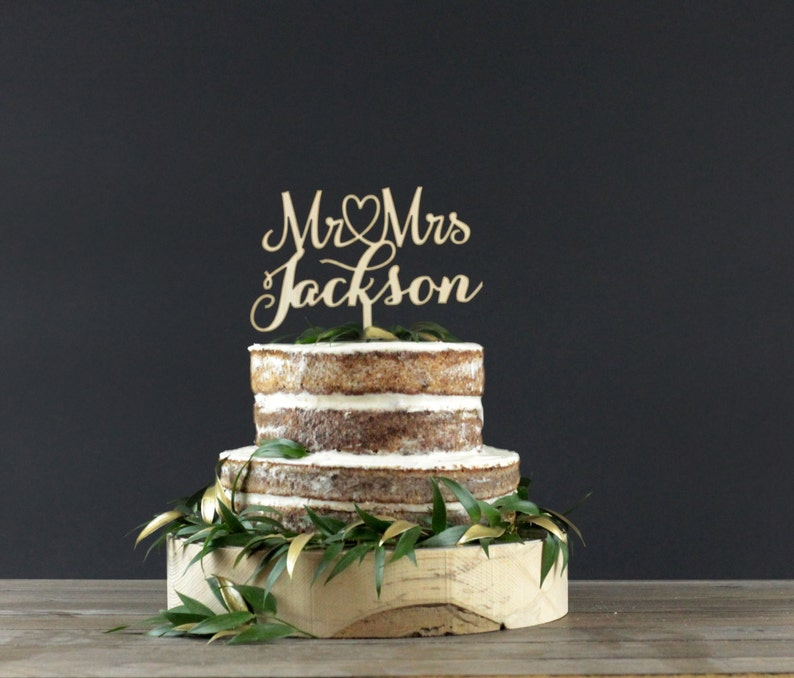 Personalized Wedding Cake Topper  Cake Decor  Wood Cake image 0