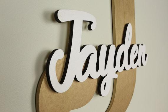 Holzerne Buchstaben Baby Kinderzimmer Wand Hangende Buchstaben Im Skript Schriftart Baby Namensschild Kinderzimmer Dekor Holzerne