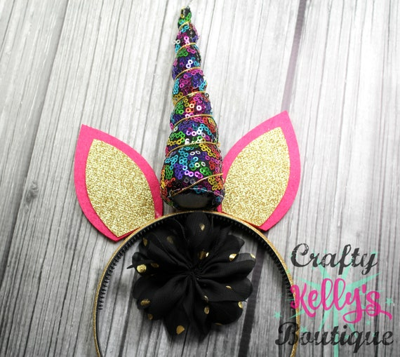 DIY Rainbow Sequin Unicorn Headband Kit Black Flower Gold  c31b56c3e72