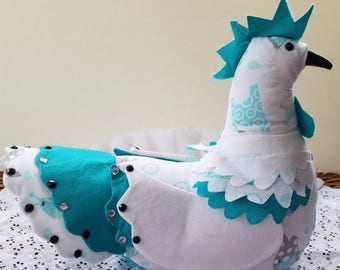 Chicken doorstop / paperweight / table decor, hand made - turquoise and white