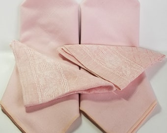 Set of 2 vintage cotton linen place mats and napkins, or set of 4 napkins, pink