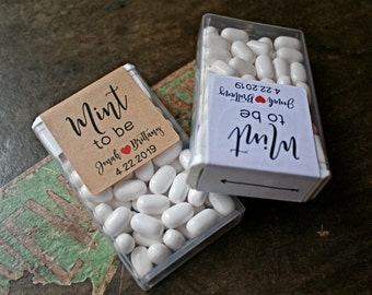 Mint to Be, set of 12 personalized favor labels, Tic Tac box stickers, mint favor labels, wedding favors, bridal shower, wedding shower