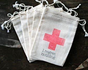 Wedding favor bags, DIY Hangover Kit bags, I regret nothing, red cross, Bachelor party, Bachelorette party favor, funny wedding favor, cloth