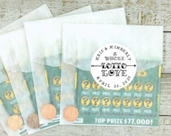 Lottery ticket favor packaging - 20 personalized stickers & bags  for lotto scratcher favors - Whole Lotto Love, unique shower or party gift