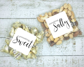 Sweet and Salty Wedding Favor Bags - 10 sweet & 10 salty stickers, add to welcome bag, Matte white or Kraft brown, treat bags for guests