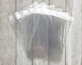 Clear party favor bags - 20 Food safe bags for candy, cookies, or donuts - Self sealing treat bags for wedding, birthday, or holiday