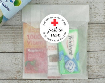Wedding Recovery Kits - 20 Stickers with favor bags, Just in Case, hangover kit, bachelorette, bachelor party, hotel welcome bags