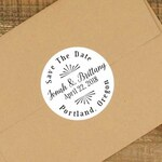 "Save the Date labels- Personalized stickers, envelope seals, 2"" round stickers, set of 20, Matte white or Kraft brown, STD stickers, custom"