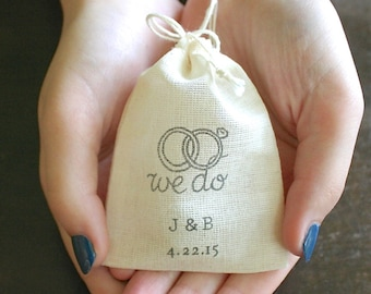 Personalized wedding ring bag, cotton ring bag, ring pillow, ring bearer, ring warming, We Do with initials and date, cloth ring bag