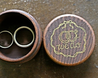 Wedding ring box, Rustic wooden ring box, ring bearer accessory, ring warming ceremony, small round ring box, We Do design in gold, wedding