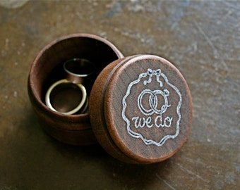 Wedding ring box, rustic wood ring box, ring bearer accessory, ring warming, small round pine ring box, we do design in white, hand stamped