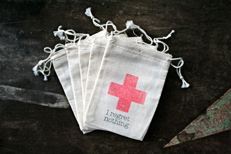 c75ab118d2e Wedding favor bags DIY Hangover Kit bags I regret nothing | Etsy