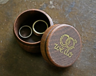 Wedding ring box, rustic wooden ring box, ring bearer accessory, ring warming, small round ring box, We Do in gold, ring holder, ring pillow
