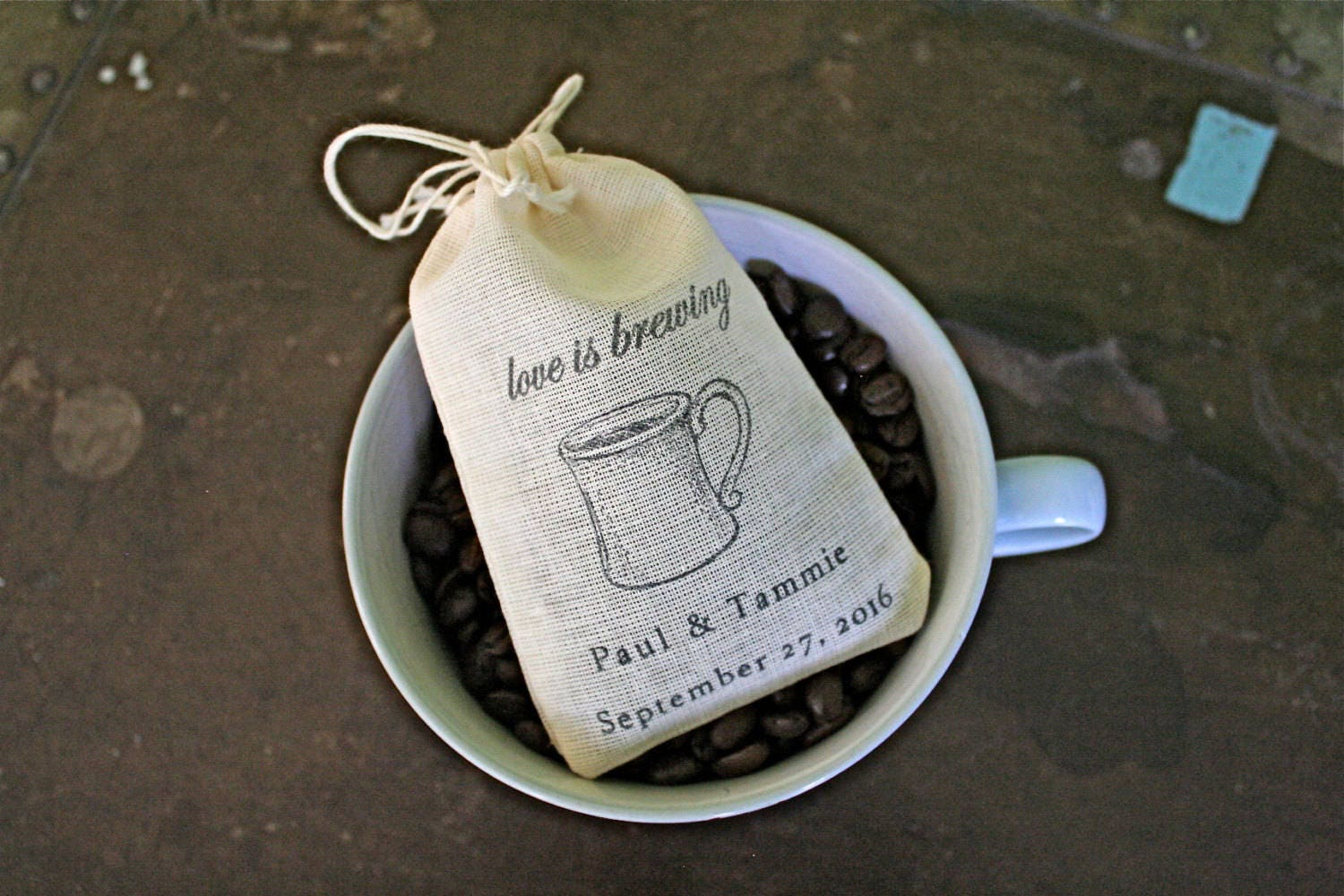 Wedding Favor Bags 10 Personalized Cotton For Coffee Or Etsy Luggage Tag Hk Love Pink