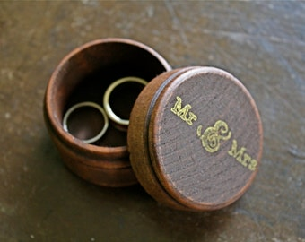 Wedding ring box, wooden ring box, ring bearer, ring warming, small round ring box, Mr & Mrs design in gold, hand stamped, pine ring box