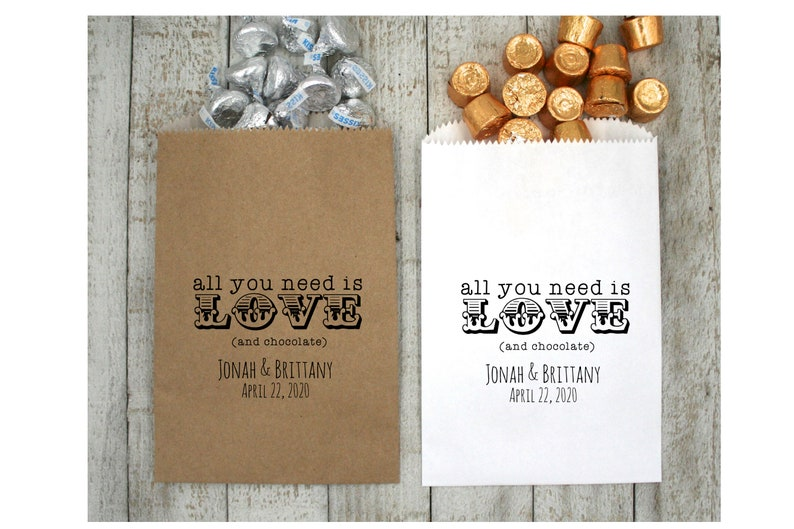 Personalized Chocolate Favor Bags for Wedding Food safe treat bags or Party All You Need is Love Shower 20 wax lined kraft favor bags