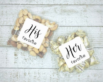 His and Her Favorite wedding favors, 10 His & 10 Hers, favor bags and stickers for hotel welcome bags, shower gifts, food safe favor bags