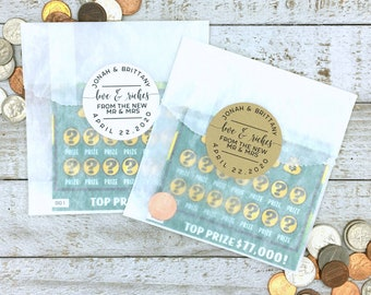 Lottery ticket favors - Unique wedding favor, stickers and bags for lotto scratcher favors - Personalized wedding favors, Love & Riches