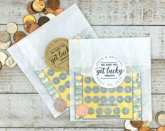 Personalized Wedding Favor - Get Lucky, Unique Lottery Gift for Guests - Set of 20 favor labels, optional bags - Funny gift wrap