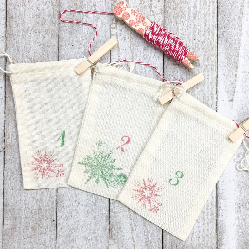 Hand stamped Christmas countdown kit rustic chic holiday decor 24 cloth drawstring bags with twine for display Advent calendar set