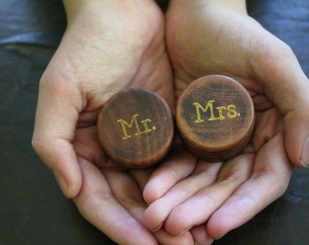 Ring bearer box set, wedding ring boxes, ring warming, Pair of wooden ring boxes, Mr and Mrs design in gold, Wedding photo prop, ring box