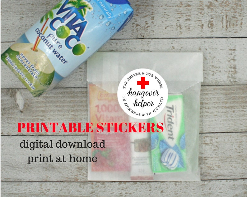 d9f00bf785f PRINTABLE STICKERS Hangover Kit Hangover Helper red cross | Etsy