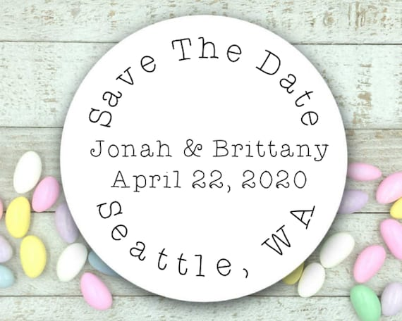 set of 20 envelope seals STD stickers Save the Date labels- Personalized stickers Matte white or Kraft brown custom 2 round stickers