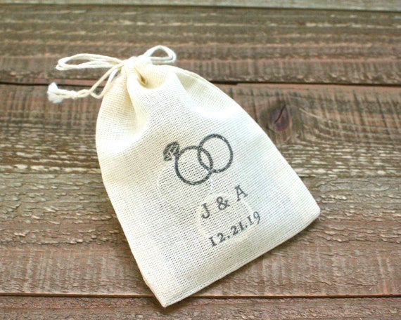 Personalized Cloth Wedding Ring Bag Rustic Cotton Ring Bag Etsy