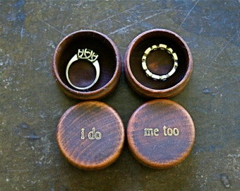Ring bearer box set, wooden wedding ring boxes, ring warming box, pair of pine ring boxes, I Do Me Too design in gold, hand stamped ring box
