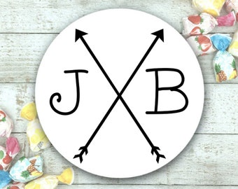 """Personalized Stickers for Wedding, Shower, Party - 63 custom favor labels, 1"""" round, Matte white or Kraft brown, custom initials and arrows"""