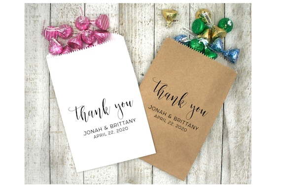 Set of 20 Wedding Favor Bags Wedding Favors Personalized Cookie Buffet Bags Candy Bar Bags Wedding Gift Idea Custom Wedding Favors Style 017