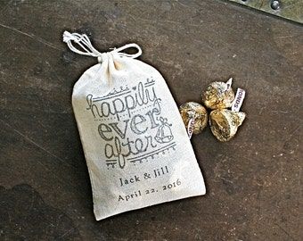 Personalized wedding favor bags, set of 50 cotton favor bags. Happily ever after, names and wedding date, bridal shower, party favor bags