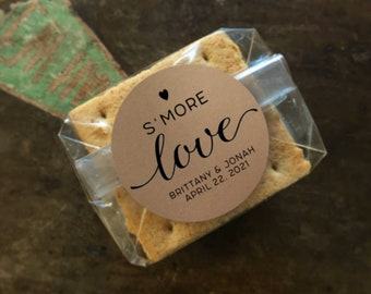 Smores Favor Packaging for Wedding, Shower, or Party - 20 personalized stickers, clear bags , S'mores gift for guests, S'more Love
