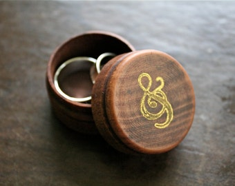 Wedding ring box, wooden ring box, ring bearer accessory, ring warming box, pine ring box, ampersand design, hand stamped in gold, ring box