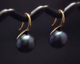 Black Button Freshwater Pearl Earring, Wedding Pearls, Bridesmaids Earrings, Genuine Natural Pearl Earring,