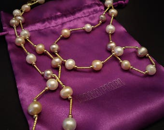 Long Gold Plated Modern Freshwater Pearl Necklace, Wedding Pearls, Bridesmaids Necklace, Pink Pearls