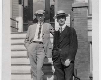 Old Photo 2 Men wearing Suits and Hats 1910s Photograph Snapshot vintage