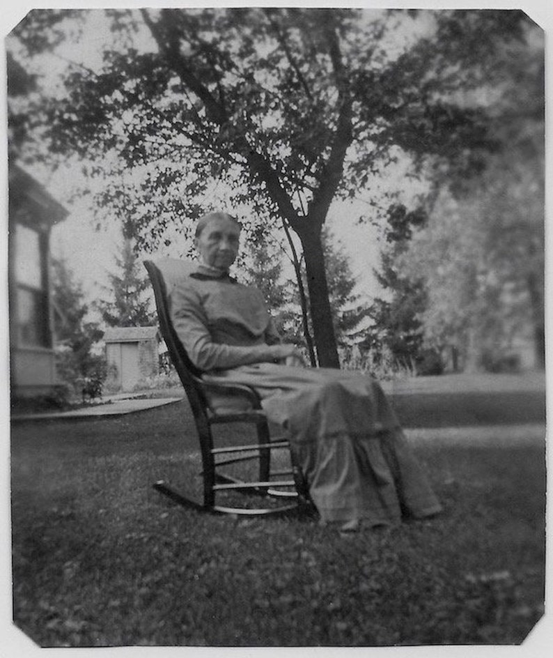 Outstanding Old Photo Woman Sitting In Rocking Chair Outside On Lawn Wearing Long Dress Early 1900S Photograph Snapshot Vintage Pdpeps Interior Chair Design Pdpepsorg