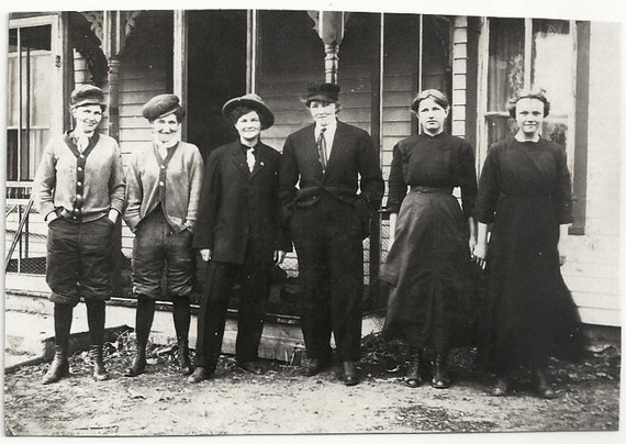 Old Photo Group Of Women 2 Wearing Dresses 4wearing Suits Hats Etsy