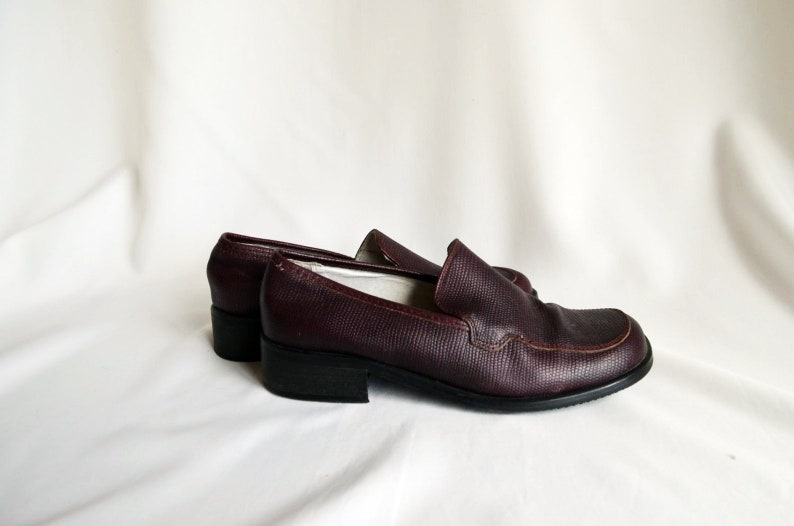 f67fa06b97865 Red Burgundy 37 Oxford Genuine Leather Pumps Vintage Shoes Size 37,5 - 38  EU, 7.5 US,