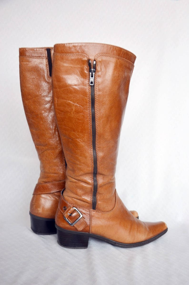 Vintage Genuine Leather Boots Size 39 EU 8 US Women Classic Boots High Classic Heel