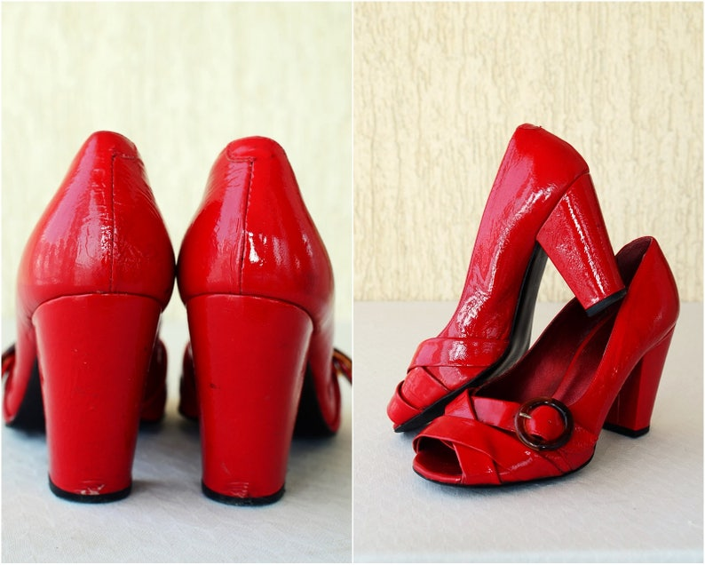 dd0a5d5177021 Patent Leather Red Current Size 37-38 EU, US 7- 7,5 Vintage Blood Red Shoes  Formal High Heel Dance 50s