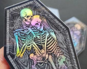 Eternally Yours - Skeleton Lovers - Coffin Shaped Vinyl Sticker